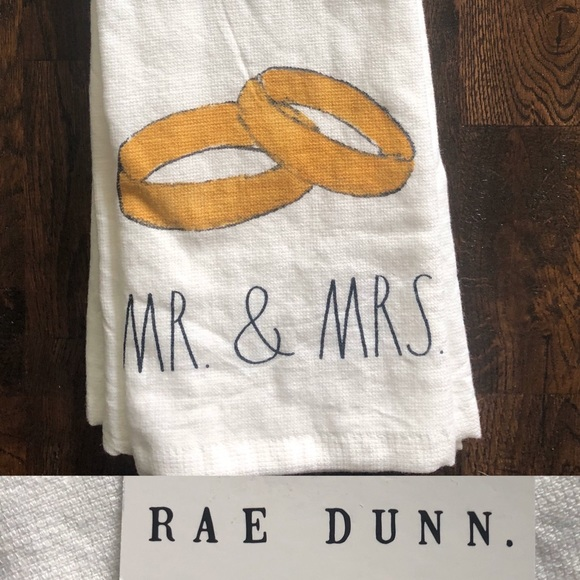 """Rae Dunn """"Mr and Mrs"""" Kitchen towels NWT"""